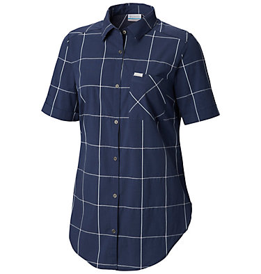 Women's Anytime Casual™ Stretch Short Sleeve Shirt Anytime Casual™ Stretch SS Shirt   490   L, Nocturnal Windowpane, front