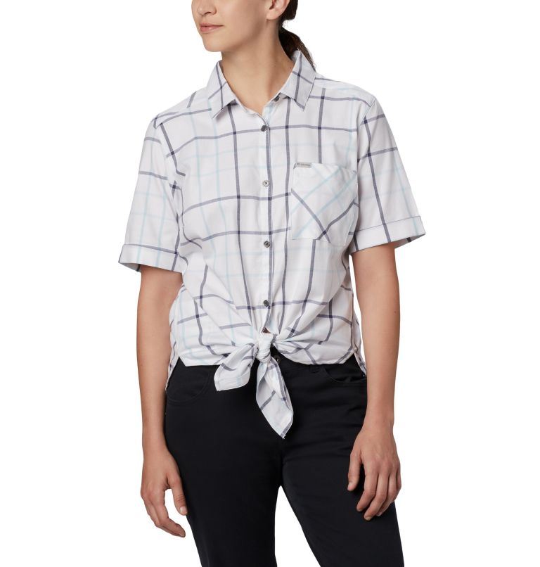 Anytime Casual™ Stretch SS Shirt | 490 | S Women's Anytime Casual™ Stretch Short Sleeve Shirt, Spring Blue Multi Windowpane, front