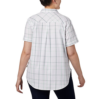 Women's Anytime Casual™ Stretch Short Sleeve Shirt - Plus Size Anytime Casual™ Stretch SS Shirt | 490 | 1X, New Mint Multi Windowpane, back