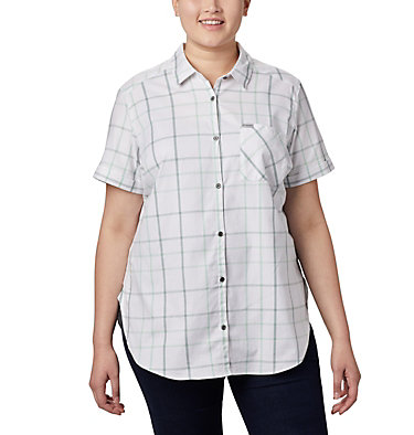 Women's Anytime Casual™ Stretch Short Sleeve Shirt - Plus Size Anytime Casual™ Stretch SS Shirt | 490 | 1X, New Mint Multi Windowpane, front