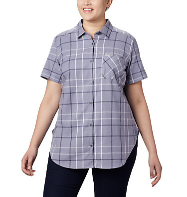 Women's Anytime Casual™ Stretch Short Sleeve Shirt - Plus Size Anytime Casual™ Stretch SS Shirt | 490 | 1X, New Moon Mutli Windowpane, front