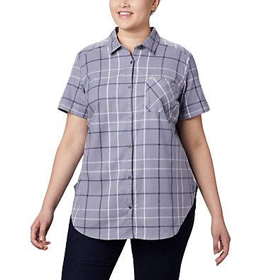 Women's Anytime Casual™ Stretch Short Sleeve Shirt - Plus Size Anytime Casual™ Stretch SS Shirt | 490 | 1X, New Moon Mutli Windowpane, front