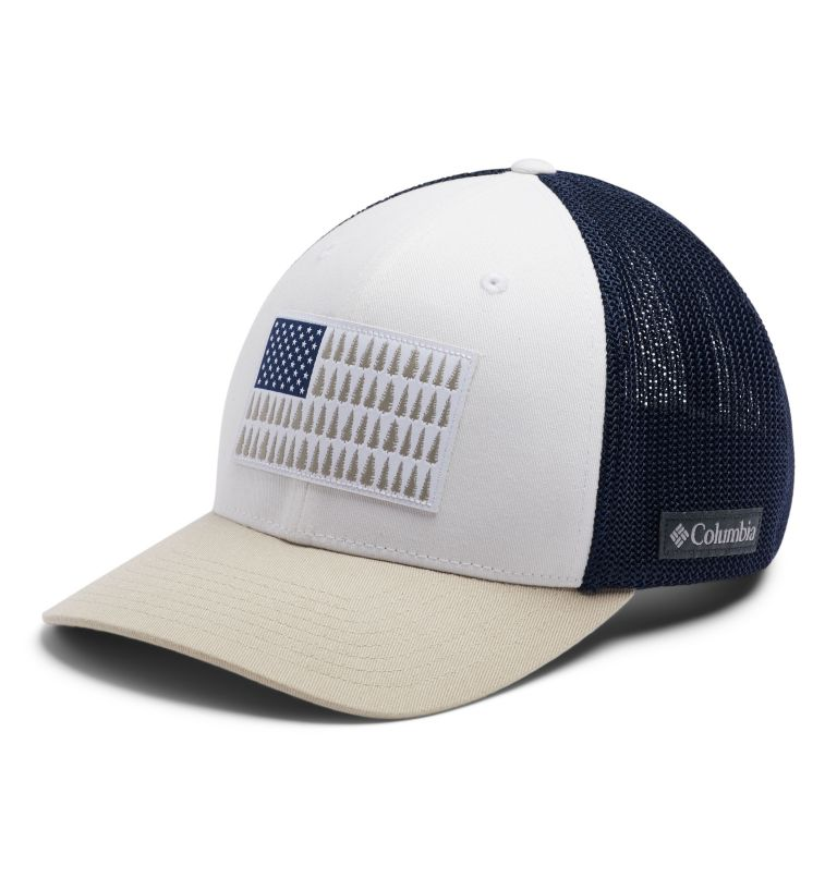 Columbia Mesh™ Tree Flag Ball Cap | 101 | S/M Columbia Mesh™ Tree Flag Ball Cap, White, Carbon, Fossil, front