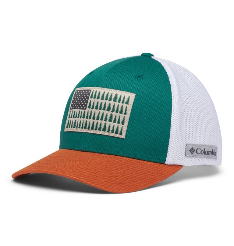 Columbia Mesh™ Tree Flag Ball Cap | 363 | S/M Columbia Mesh™ Tree Flag Ball Cap, Pine Green, front