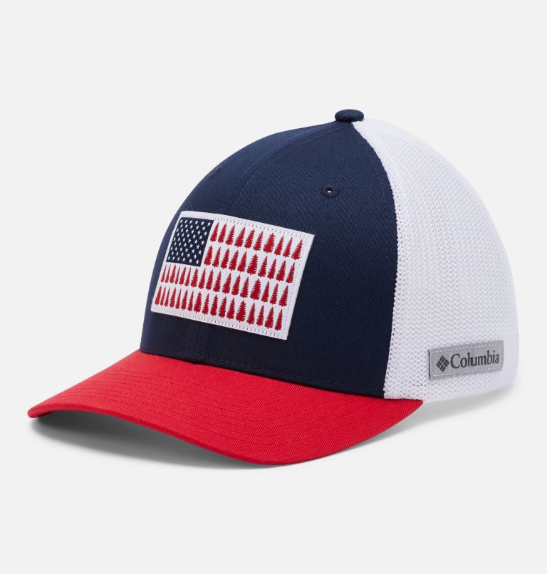 Columbia Mesh™ Tree Flag Ball Cap | 467 | S/M Columbia Mesh™ Tree Flag Ball Cap, Collegiate Navy, White, front