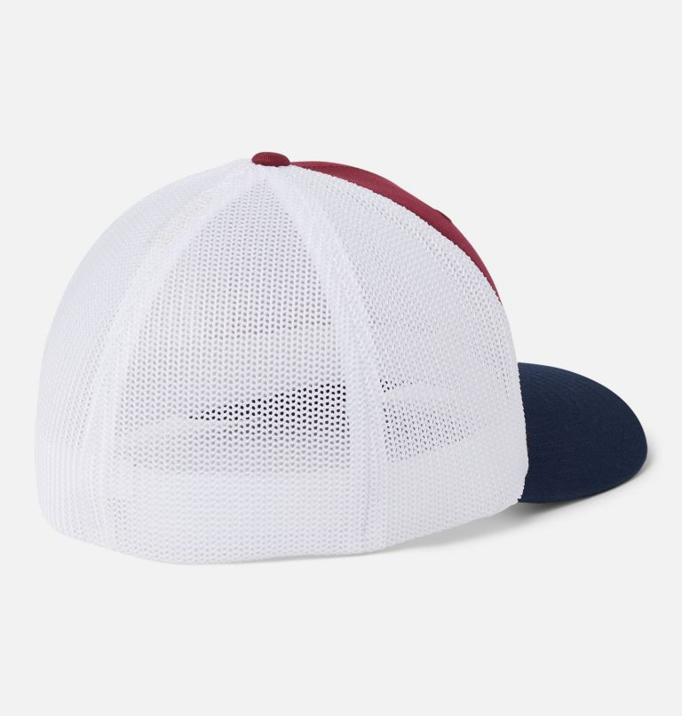 Columbia Mesh™ Tree Flag Ball Cap | 664 | L/XL Columbia Mesh™ Tree Flag Ball Cap, Red Jasper, White, Collegiate Navy, back
