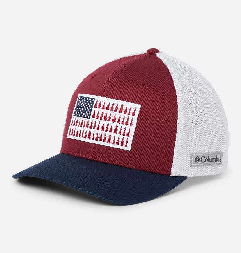 Columbia Mesh™ Tree Flag Ball Cap | 664 | L/XL Columbia Mesh™ Tree Flag Ball Cap, Red Jasper, White, Collegiate Navy, front