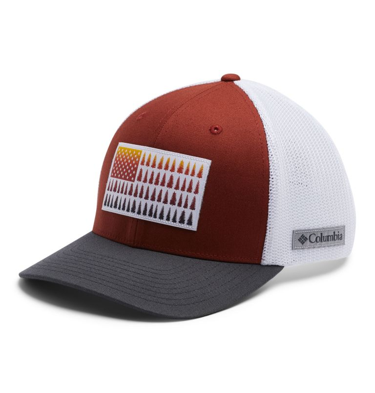 Columbia Mesh™ Tree Flag Ball Cap | 835 | S/M Columbia Mesh™ Tree Flag Ball Cap, Carnelian Red, White, Shark, front