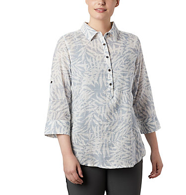 Women's Summer Ease™ Popover Tunic Summer Ease™ Popover Tunic | 648 | M, Cirrus Grey Wispy Bamboo Print, front