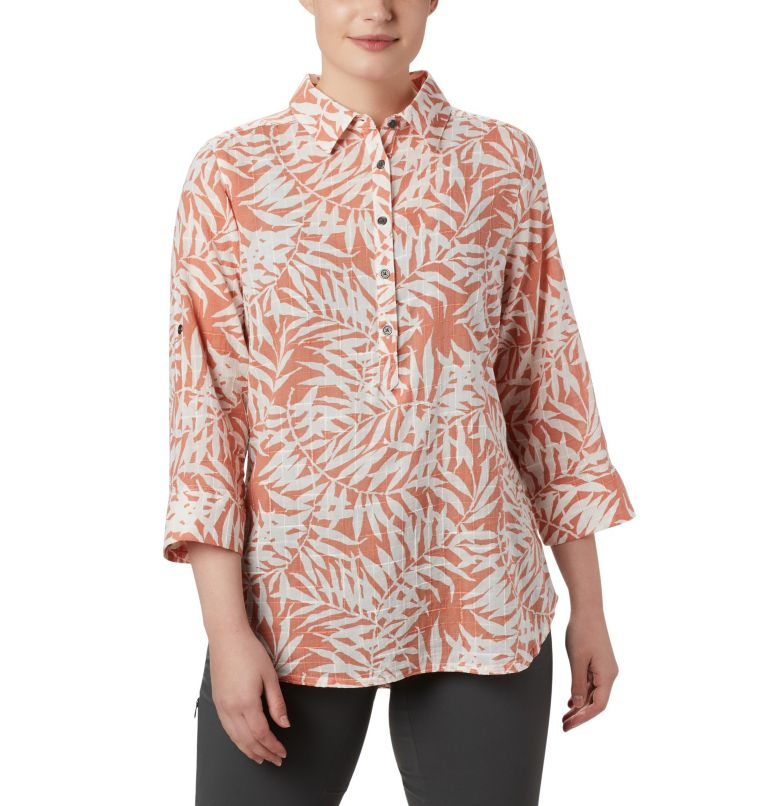 Summer Ease™ Popover Tunic | 648 | L Women's Summer Ease™ Popover Tunic, Cedar Blush Wispy Bamboo Print, front