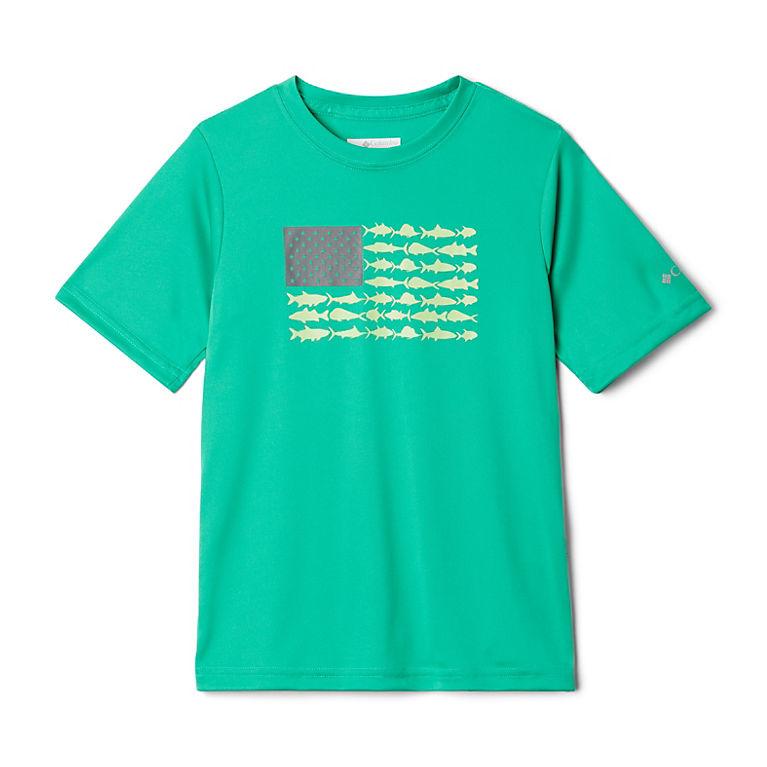 4T Columbia Kids /& Baby Toddler Boys PFG Finatic Short Sleeve Shirt White Fish Flag