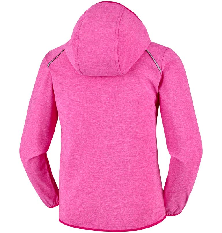 Heather Canyon™ Softshell Jack | 627 | L Youth Heather Canyon™ Softshell Jacket, Haute Pink Heather, back