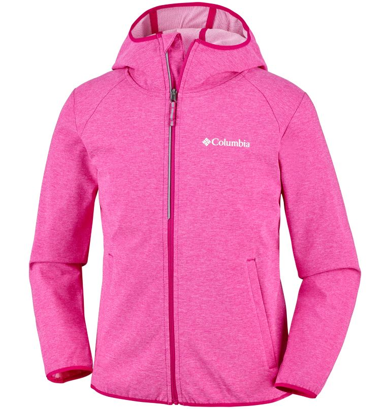 Heather Canyon™ Softshell Jack | 627 | L Youth Heather Canyon™ Softshell Jacket, Haute Pink Heather, front