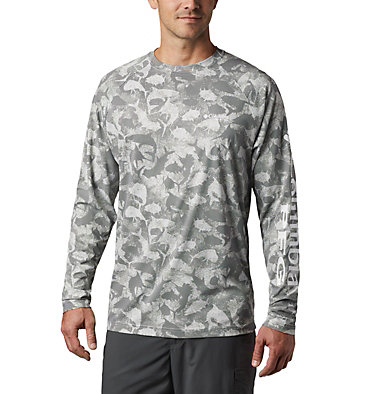 Men's PFG Terminal Deflector™ Printed Long Sleeve Shirt Terminal Deflector™ Printed LS | 019 | L, Cool Grey Inside Out Camo, front