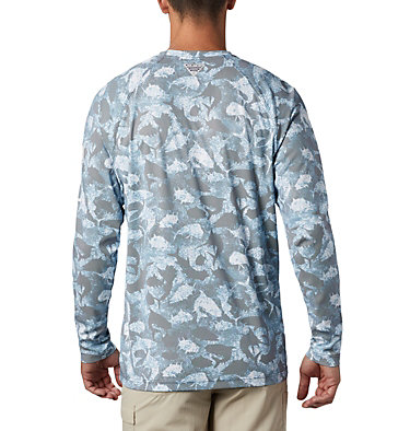 Men's PFG Terminal Deflector™ Printed Long Sleeve Shirt Terminal Deflector™ Printed LS | 019 | L, Collegiate Navy Inside Out Camo, back