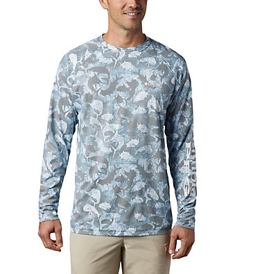Men's PFG Terminal Deflector™ Printed Long Sleeve Shirt Terminal Deflector™ Printed LS | 019 | L, Collegiate Navy Inside Out Camo, front