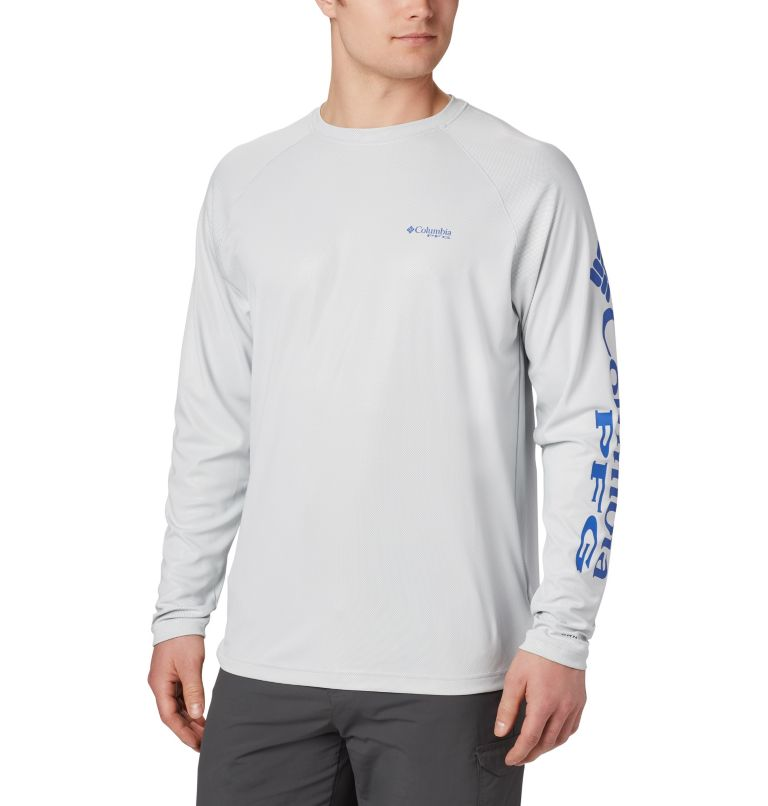 Terminal Deflector™ LS | 019 | 4XT Men's PFG Terminal Deflector™ Long Sleeve Shirt - Tall, Cool Grey, Vivid Blue, front