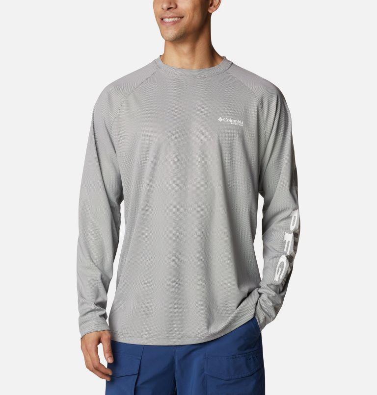 Terminal Deflector™ LS | 024 | 4XT Men's PFG Terminal Deflector™ Long Sleeve Shirt - Tall, City Grey, White, front