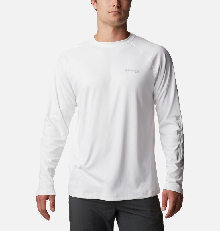 Terminal Deflector™ LS | 100 | LT Men's PFG Terminal Deflector™ Long Sleeve Shirt - Tall, White, Cool Grey, front