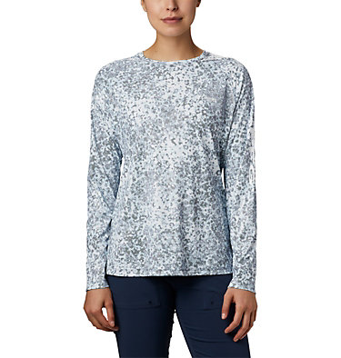 Women's PFG Tidal Deflector™ Long Sleeve Shirt Tidal Deflector™ Long Sleeve | 808 | L, Collegiate Navy Bubbles Print, front