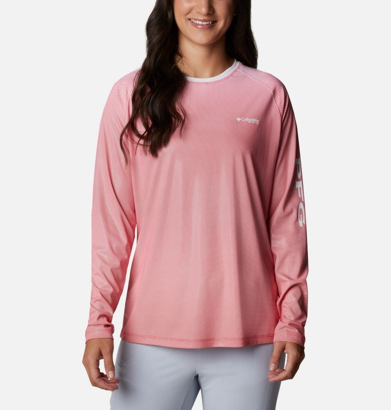 Tidal Deflector™ Long Sleeve | 659 | M Women's PFG Tidal Deflector™ Long Sleeve Shirt, Red Lily Gradient, front