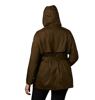 Women's Pardon My Trench™ Rain Jacket – Plus Size Pardon My Trench™ Rain Jacket | 458 | 3X, Olive Green, back