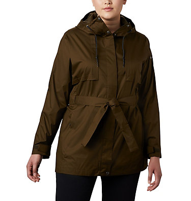 Women's Pardon My Trench™ Rain Jacket – Plus Size Pardon My Trench™ Rain Jacket | 458 | 3X, Olive Green, front
