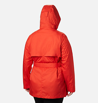 Women's Pardon My Trench™ Rain Jacket – Plus Size Pardon My Trench™ Rain Jacket | 458 | 3X, Bold Orange, back