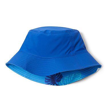 Youth Pixel Grabber™ Bucket Hat Pixel Grabber™ Bucket Hat | 467 | S/M, Azure Blue Tropical Monsteras, Azul, a1