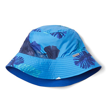 Youth Pixel Grabber™ Bucket Hat Pixel Grabber™ Bucket Hat | 467 | S/M, Azure Blue Tropical Monsteras, Azul, front