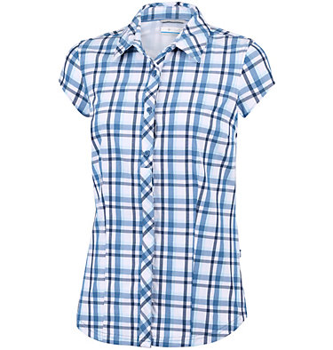 Women's Saturday Trail™ II Stretch Short Sleeve Shirt Saturday Trail™ II Stretch Pri | 404 | XS, Blue Dusk Plaid, front