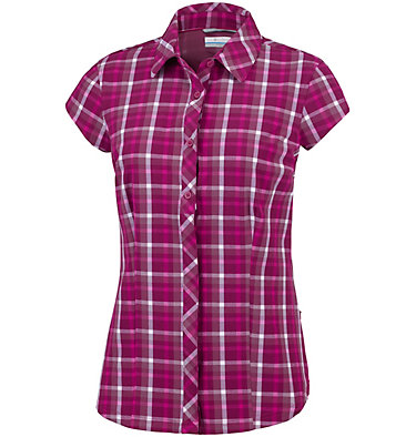 Saturday Trail™ II kurzärmlige bedruckte Bluse aus Stretchmaterial Saturday Trail™ II Stretch Pri | 404 | XS, Wine Berry Plaid, front