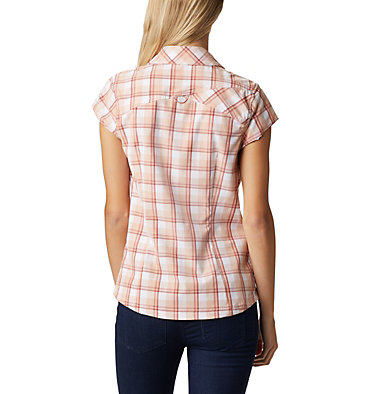 Women's Saturday Trail™ II Stretch Short Sleeve Shirt Saturday Trail™ II Stretch Pri | 404 | XS, Dark Coral Medium Grid, back