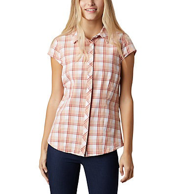 Women's Saturday Trail™ II Stretch Short Sleeve Shirt Saturday Trail™ II Stretch Pri | 404 | XS, Dark Coral Medium Grid, front