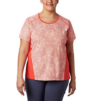 Women's Solar Chill™ 2.0 Short Sleeve Shirt—Plus Size Solar Chill™ 2.0 Short Sleeve | 556 | 1X, Bright Poppy Print, front