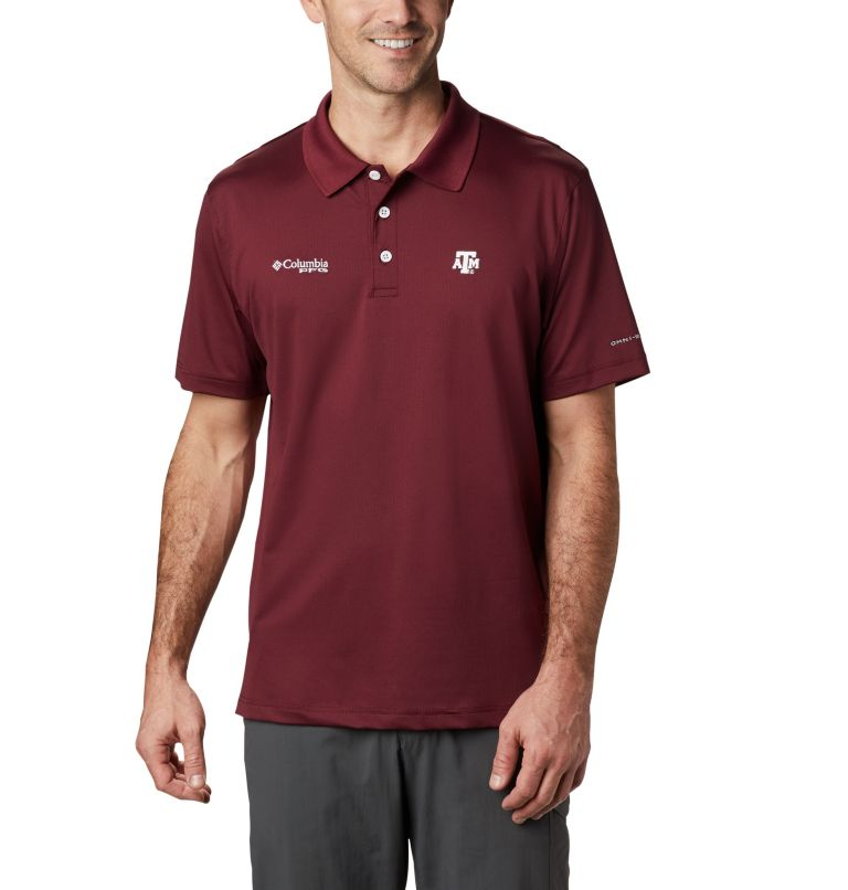 CLG Skiff Cast™ Polo | 627 | L Men's Collegiate Skiff Cast™ Polo - Texas A&M, TAM - Deep Maroon, front