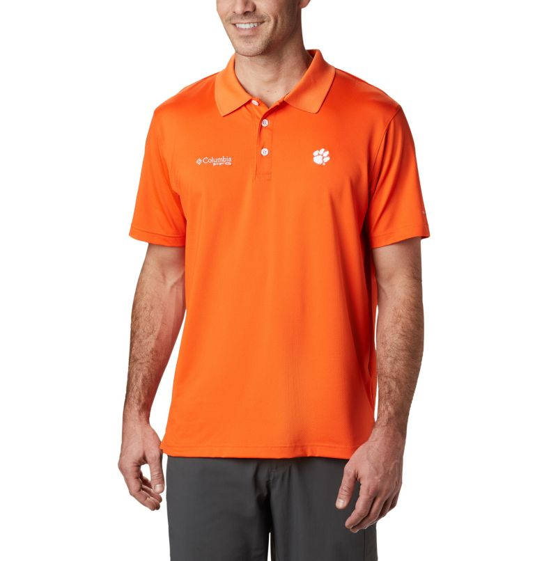 CLG Skiff Cast™ Polo | 835 | XL Men's Collegiate Skiff Cast™ Polo - Clemson, CLE - Spark Orange, front