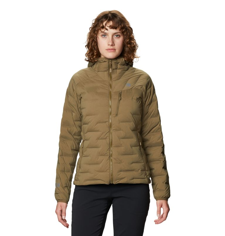 Super/DS™ Stretchdown Hooded Jacket   253   S Women's Super/DS™ Stretchdown Hooded Jacket, Raw Clay, front