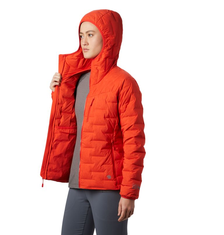 Super/DS™ Stretchdown Hooded Jacket | 636 | S Women's Super/DS™ Stretchdown Hooded Jacket, Fiery Red, a1