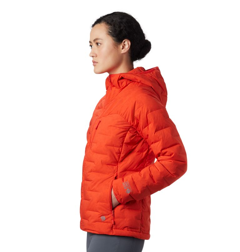 Super/DS™ Stretchdown Hooded Jacket | 636 | S Women's Super/DS™ Stretchdown Hooded Jacket, Fiery Red, a2