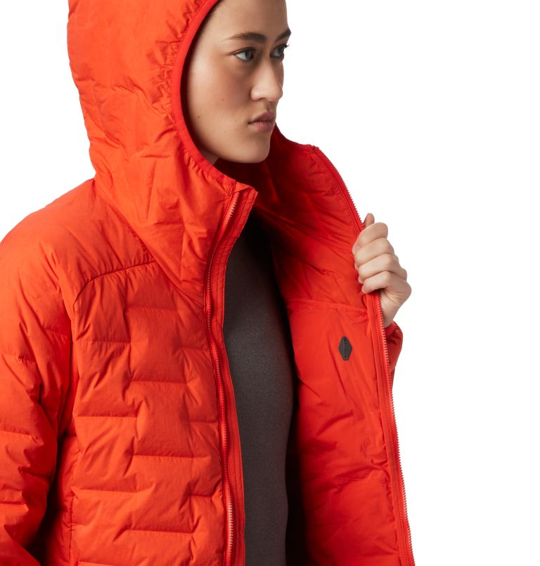 Super/DS™ Stretchdown Hooded Jacket | 636 | S Women's Super/DS™ Stretchdown Hooded Jacket, Fiery Red, a4