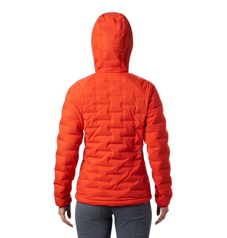 Super/DS™ Stretchdown Hooded Jacket | 636 | S Women's Super/DS™ Stretchdown Hooded Jacket, Fiery Red, back