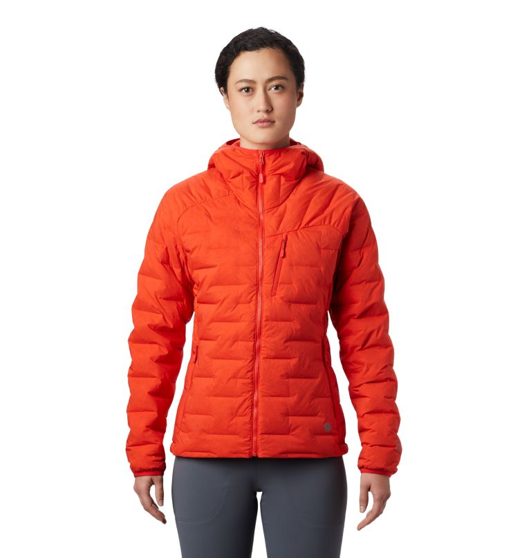 Super/DS™ Stretchdown Hooded Jacket | 636 | S Women's Super/DS™ Stretchdown Hooded Jacket, Fiery Red, front
