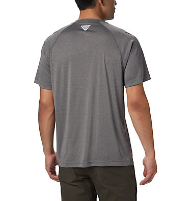 Men's PFG Terminal Tackle™ Heather Short Sleeve Shirt Terminal Tackle™ Heather SS Shirt | 696 | L, Charcoal Heather, Cool Grey Logo, back