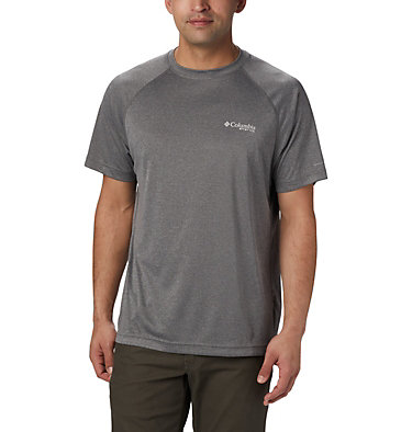 Men's PFG Terminal Tackle™ Heather Short Sleeve Shirt Terminal Tackle™ Heather SS Shirt | 696 | L, Charcoal Heather, Cool Grey Logo, front