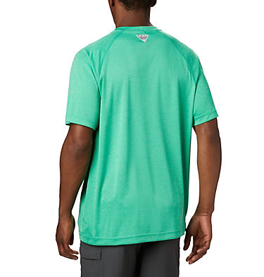 Men's PFG Terminal Tackle™ Heather Short Sleeve Shirt Terminal Tackle™ Heather SS Shirt | 696 | L, Dark Lime Heather, Sunlit Logo, back