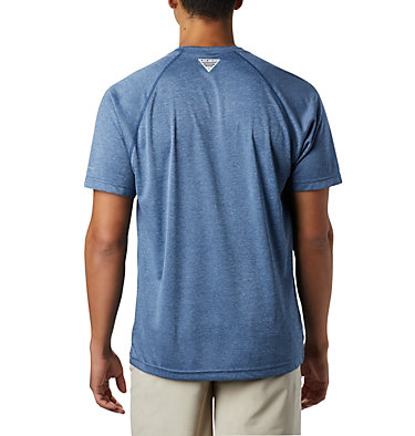 Men's PFG Terminal Tackle™ Heather Short Sleeve Shirt Terminal Tackle™ Heather SS Shirt | 696 | L, Carbon Heather, Red Spark Logo, back
