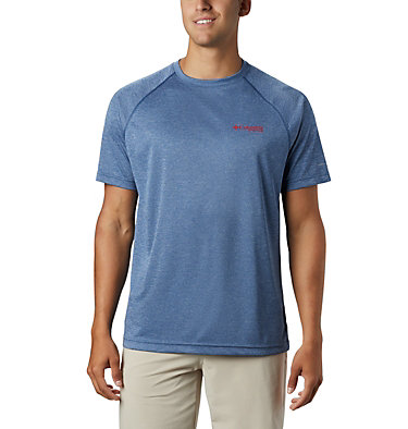 Men's PFG Terminal Tackle™ Heather Short Sleeve Shirt Terminal Tackle™ Heather SS Shirt | 696 | L, Carbon Heather, Red Spark Logo, front