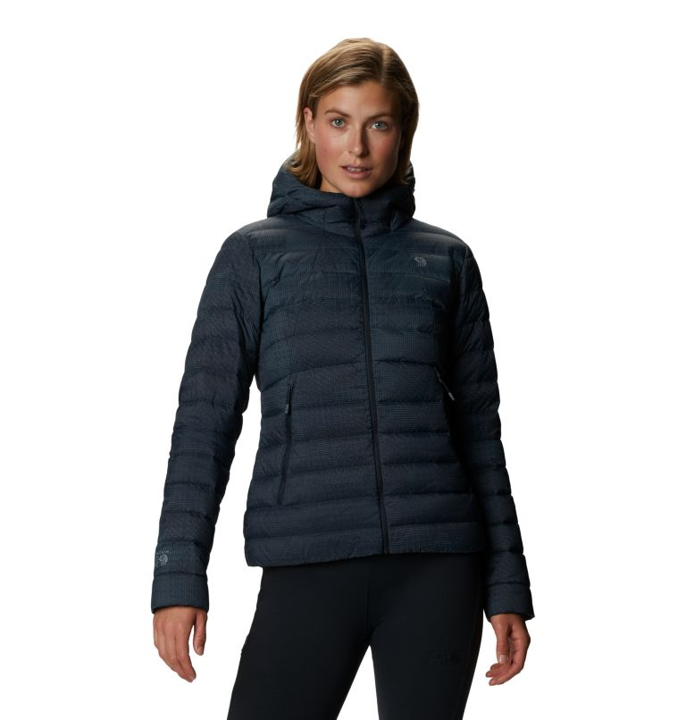 Rhea Ridge™ Hoody | 008 | XS Women's Rhea Ridge/2™ Down Full Zip Hoody, Dark Storm Woven Print, front