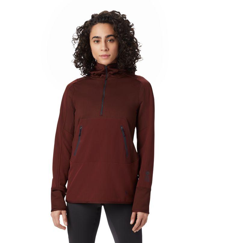 Frostzone™ Hybrid 1/2 Zip Hood | 259 | XS Women's Frostzone™ Hybrid 1/2 Zip Hoody, Dark Umber, front